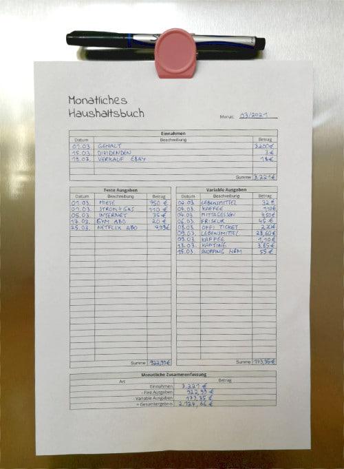 Haushaltsplan am Kühlschrank